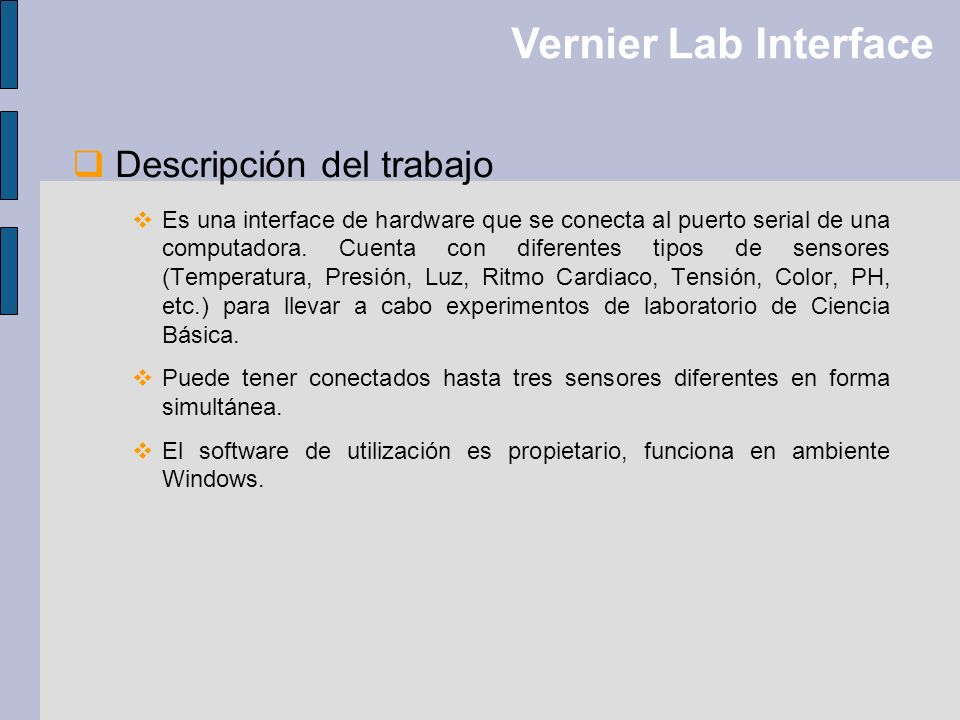 Vernier Lab Interface Descripción del trabajo