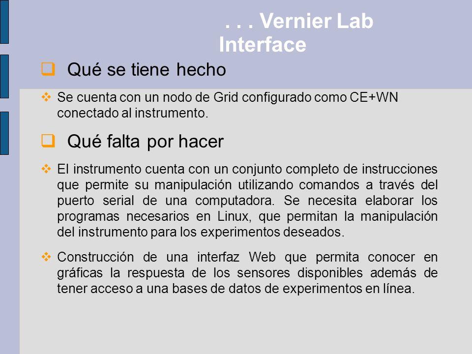 . . . Vernier Lab Interface Qué se tiene hecho Qué falta por hacer