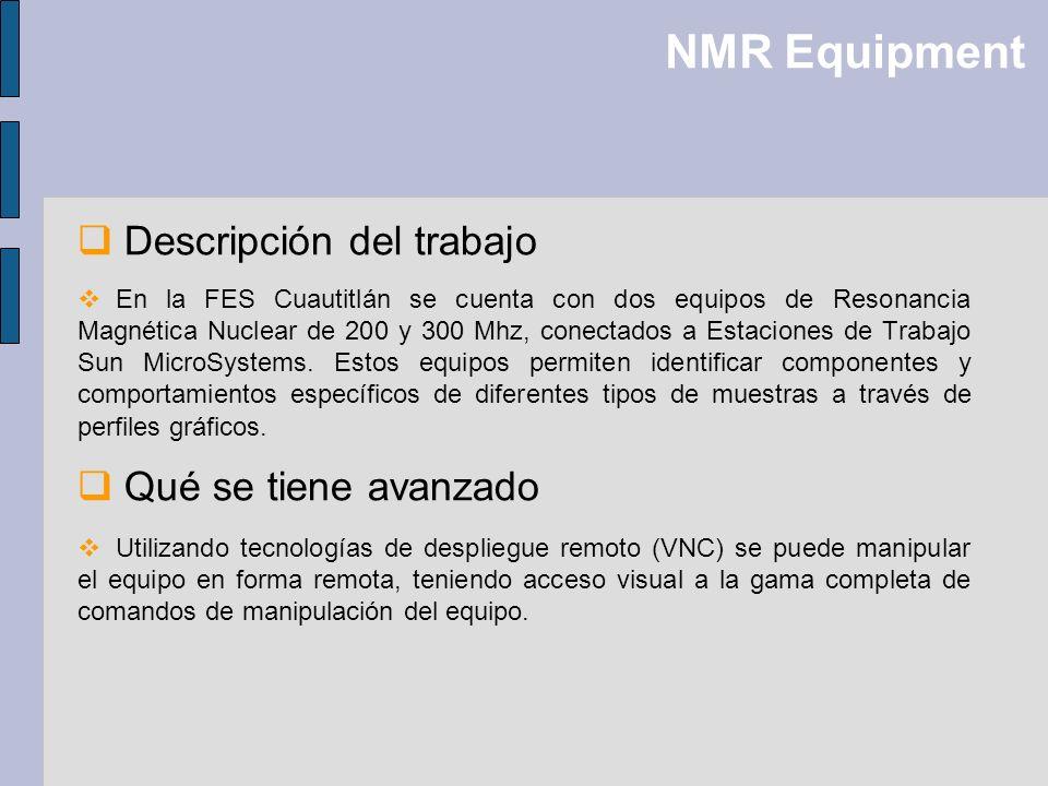 NMR Equipment Descripción del trabajo Qué se tiene avanzado