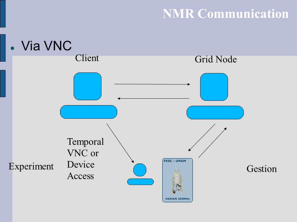 NMR Communication Via VNC Client Grid Node Temporal VNC or Device