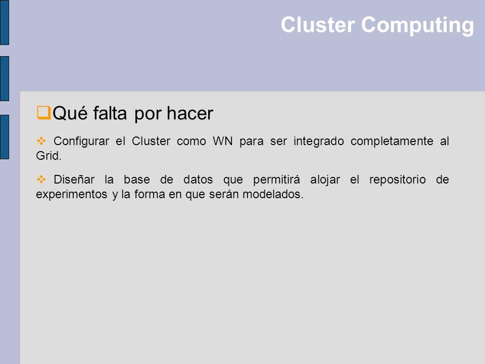 Cluster Computing Qué falta por hacer