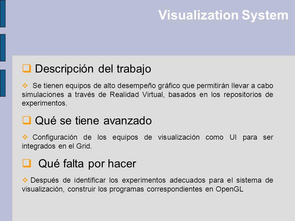 Visualization System Descripción del trabajo Qué se tiene avanzado