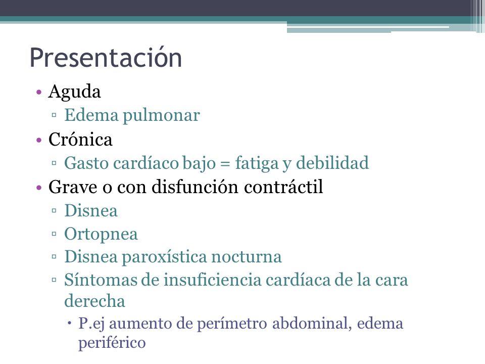 Presentación Aguda Crónica Grave o con disfunción contráctil
