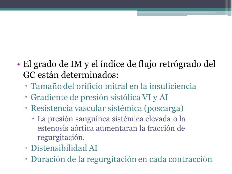 El grado de IM y el índice de flujo retrógrado del GC están determinados: