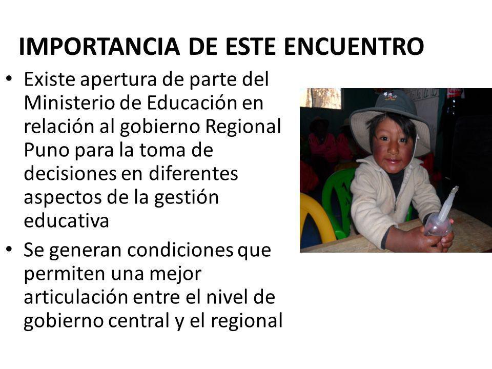 IMPORTANCIA DE ESTE ENCUENTRO