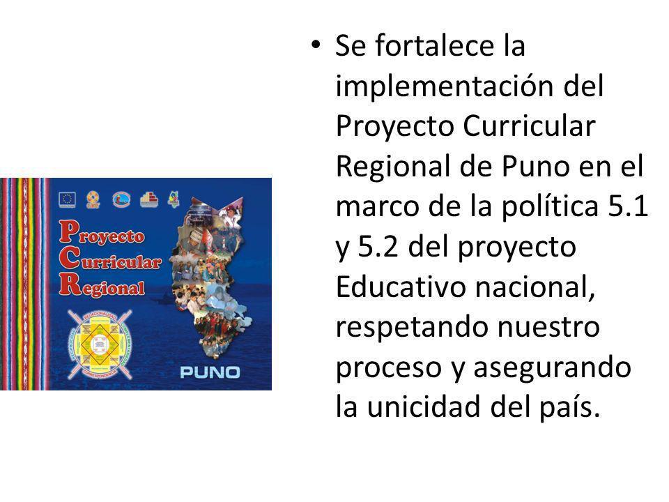 Se fortalece la implementación del Proyecto Curricular Regional de Puno en el marco de la política 5.1 y 5.2 del proyecto Educativo nacional, respetando nuestro proceso y asegurando la unicidad del país.