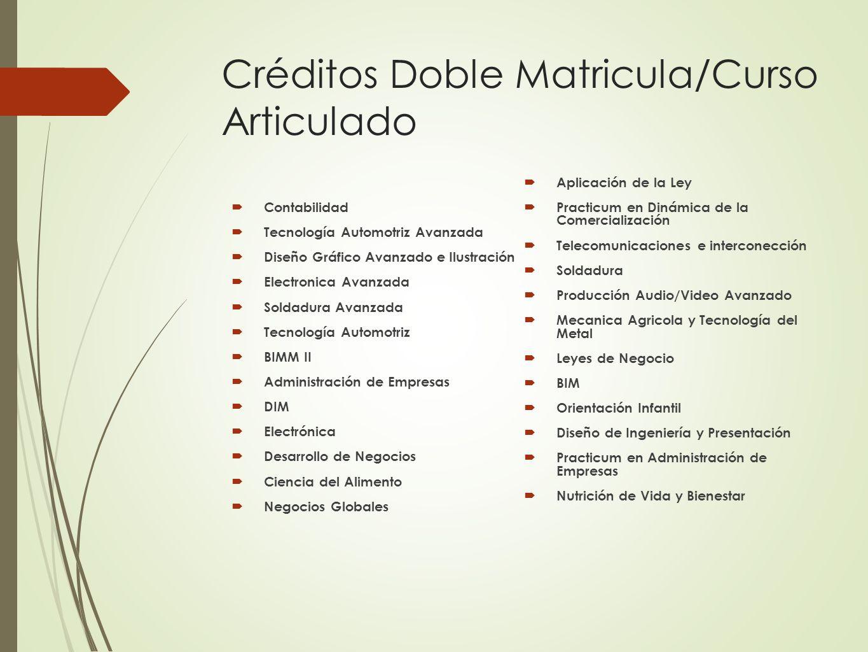 Créditos Doble Matricula/Curso Articulado