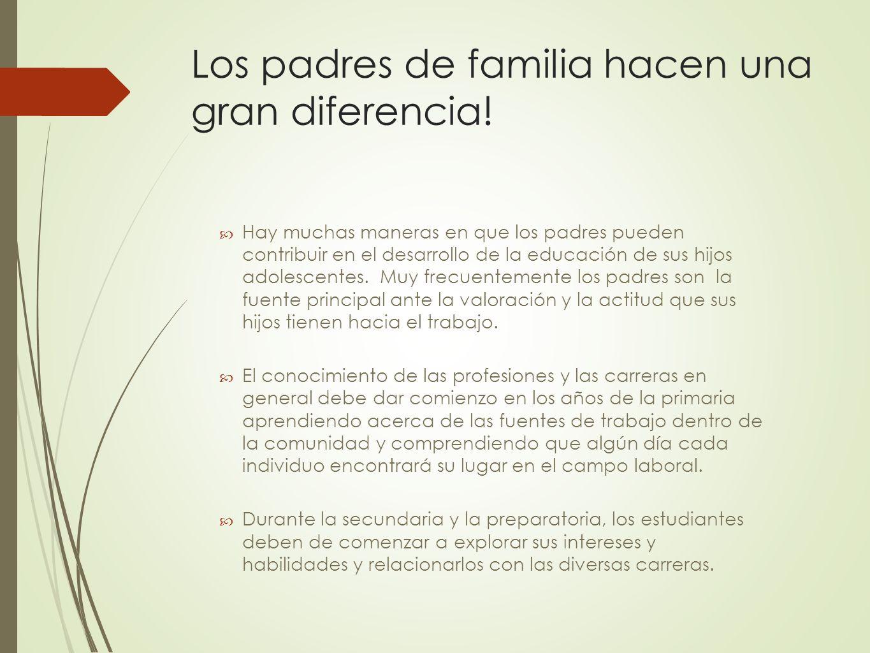 Los padres de familia hacen una gran diferencia!
