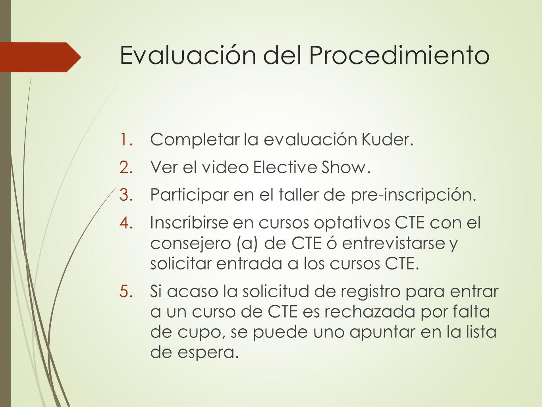 Evaluación del Procedimiento