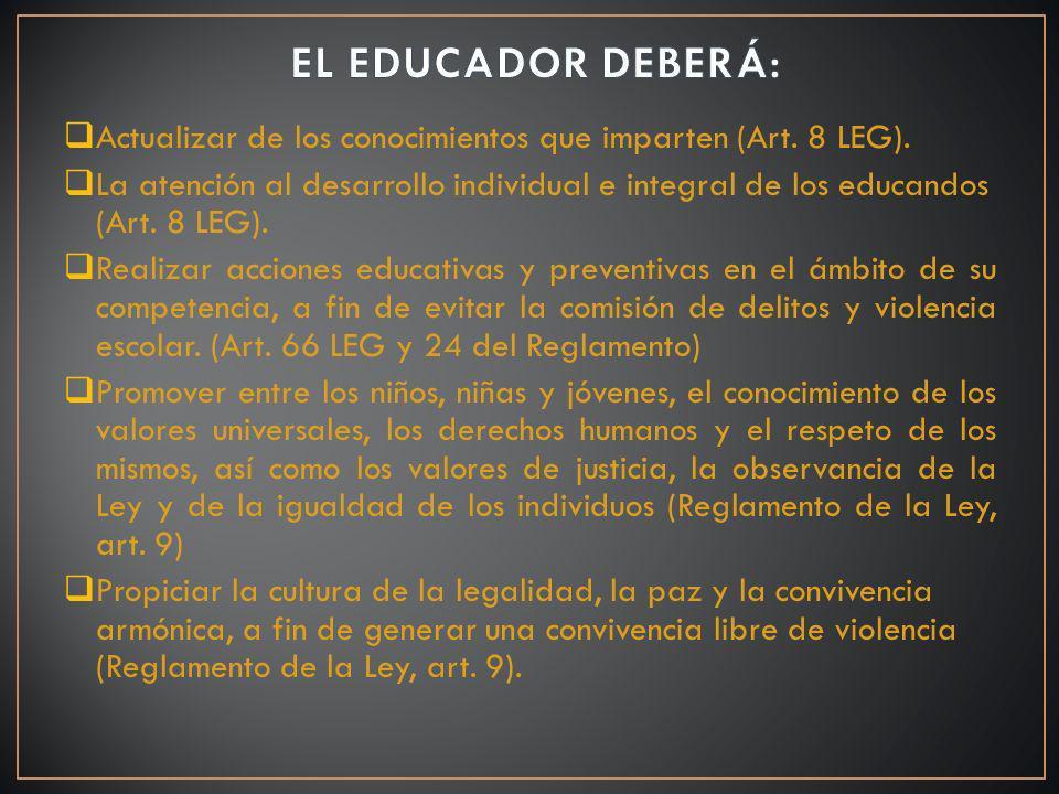EL EDUCADOR DEBERÁ: Actualizar de los conocimientos que imparten (Art. 8 LEG).