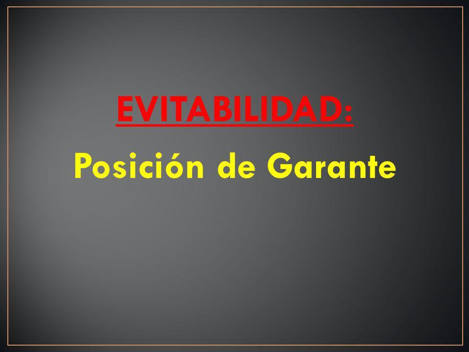 EVITABILIDAD: Posición de Garante