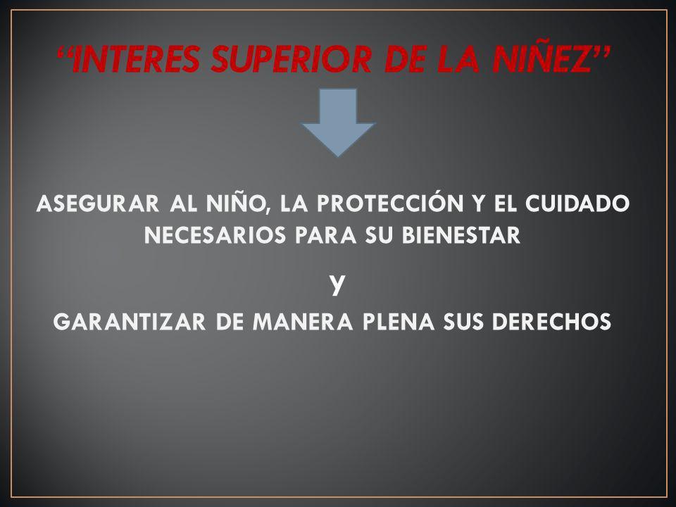 INTERES SUPERIOR DE LA NIÑEZ GARANTIZAR DE MANERA PLENA SUS DERECHOS