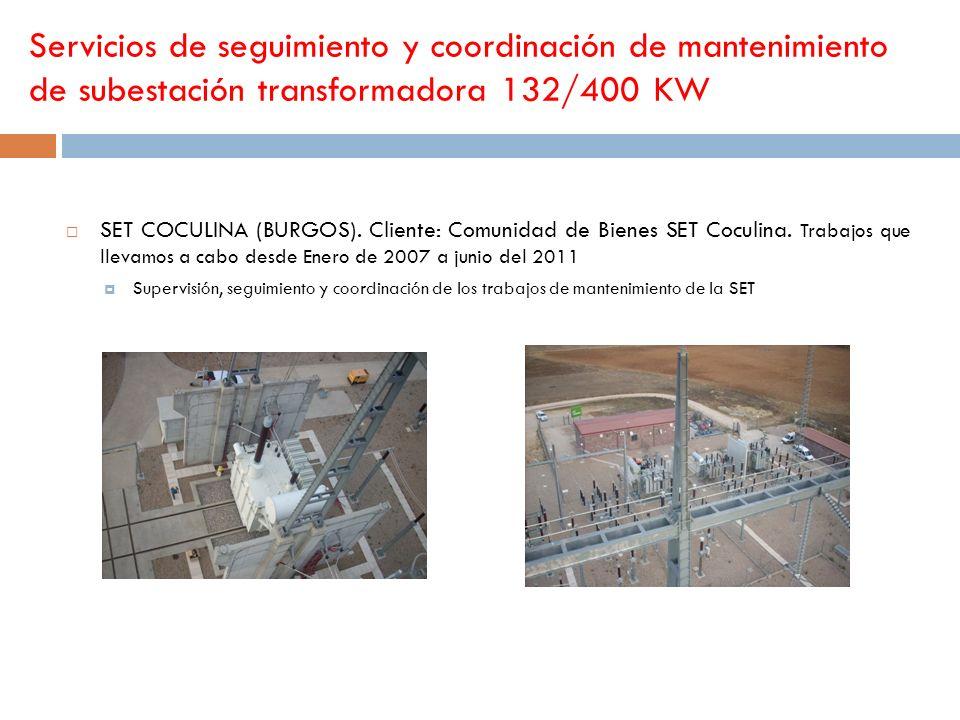Servicios de seguimiento y coordinación de mantenimiento de subestación transformadora 132/400 KW