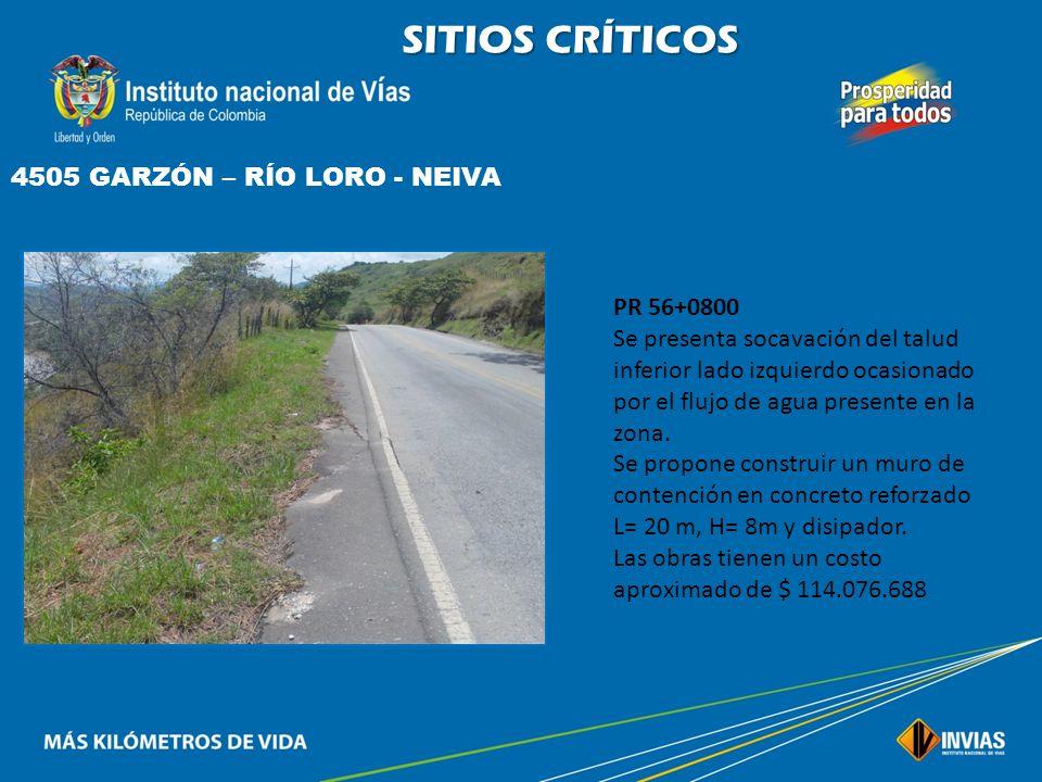 SITIOS CRÍTICOS 4505 GARZÓN – RÍO LORO - NEIVA PR 56+0800