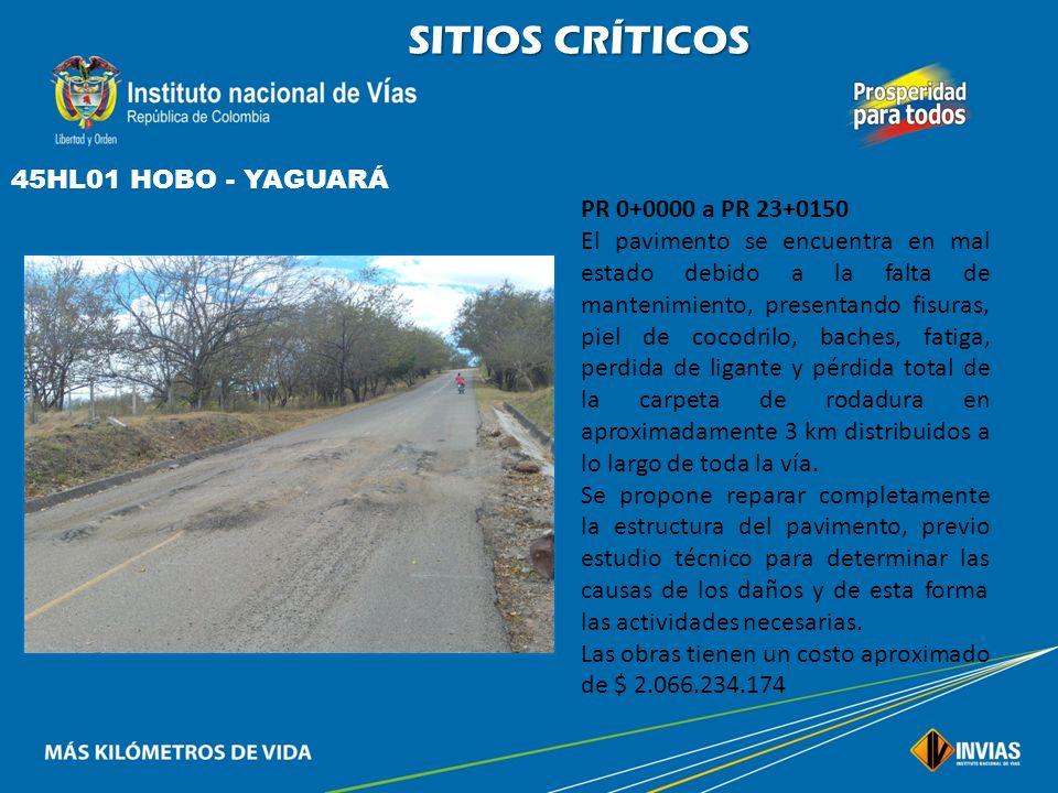 SITIOS CRÍTICOS 45HL01 HOBO - YAGUARÁ PR 0+0000 a PR 23+0150