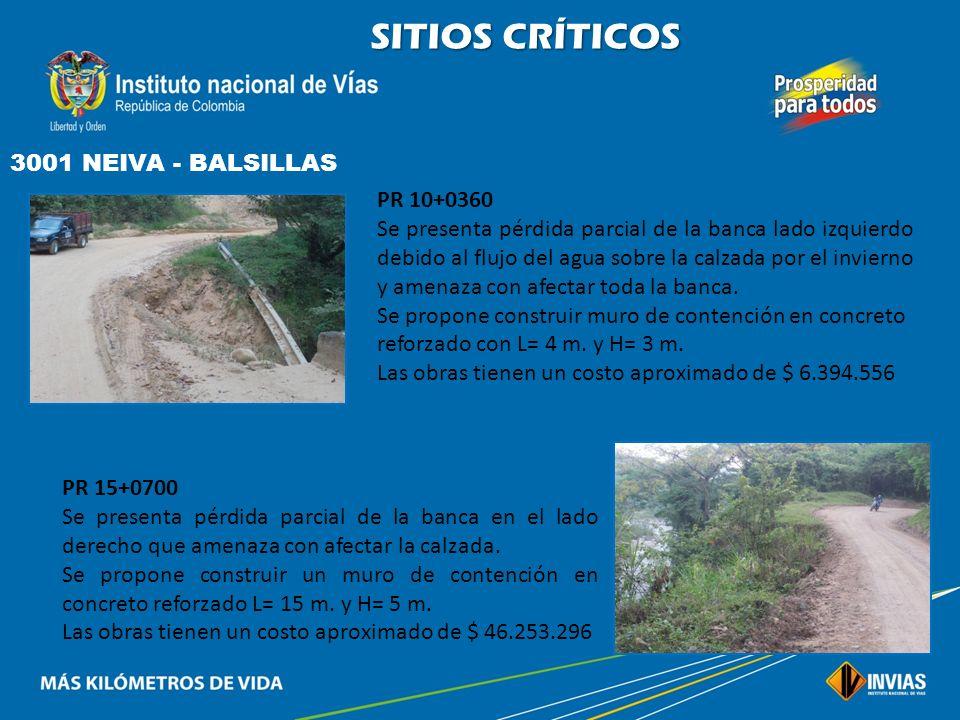 SITIOS CRÍTICOS 3001 NEIVA - BALSILLAS PR 10+0360
