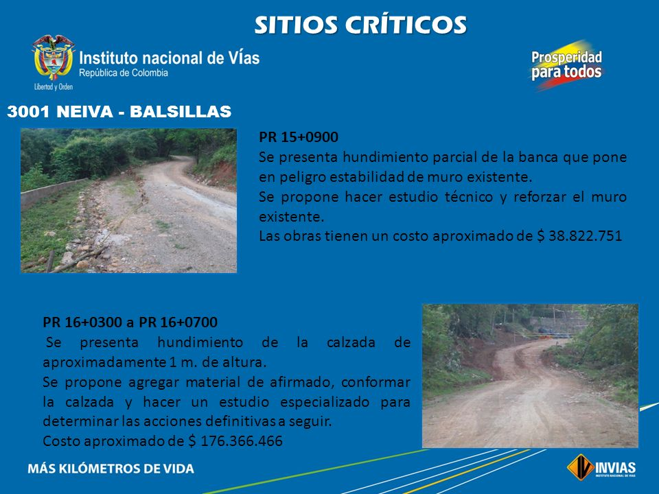 SITIOS CRÍTICOS 3001 NEIVA - BALSILLAS PR 15+0900