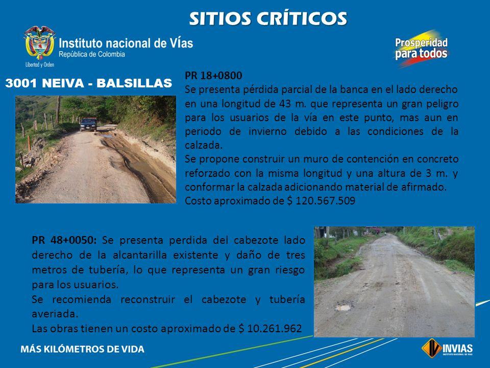 SITIOS CRÍTICOS 3001 NEIVA - BALSILLAS