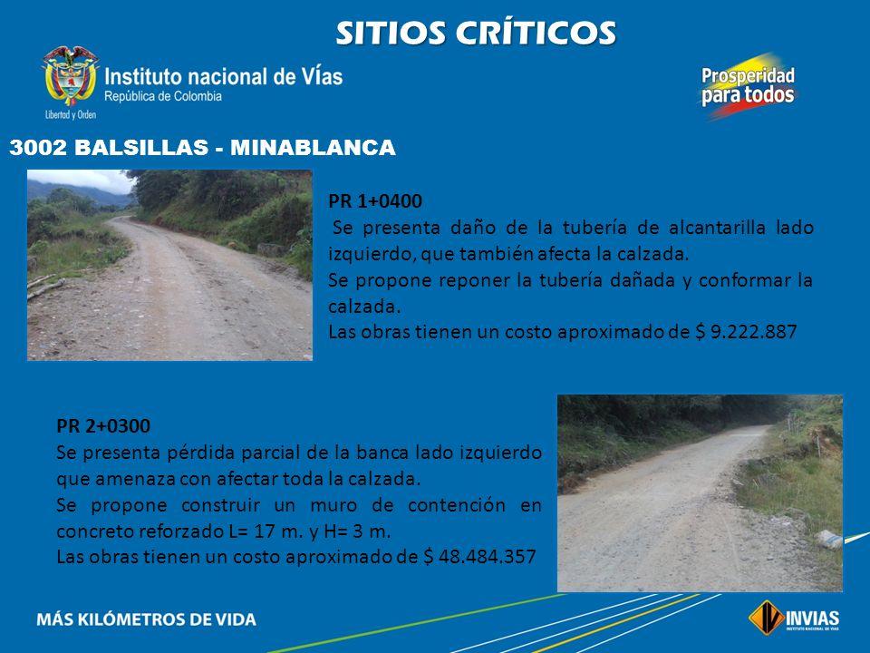 SITIOS CRÍTICOS 3002 BALSILLAS - MINABLANCA PR 1+0400