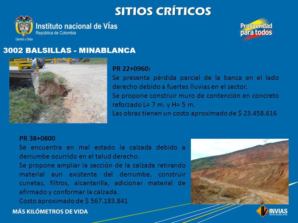 SITIOS CRÍTICOS 3002 BALSILLAS - MINABLANCA PR 22+0960: