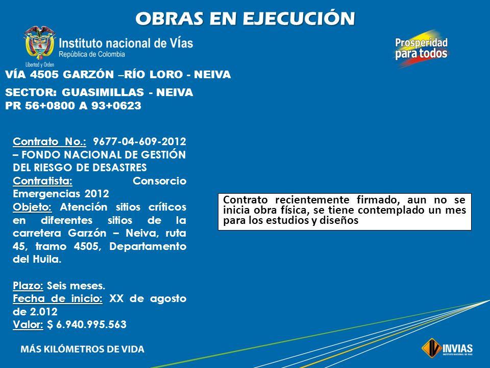 OBRAS EN EJECUCIÓN VÍA 4505 GARZÓN –RÍO LORO - NEIVA. SECTOR: GUASIMILLAS - NEIVA. PR 56+0800 A 93+0623.