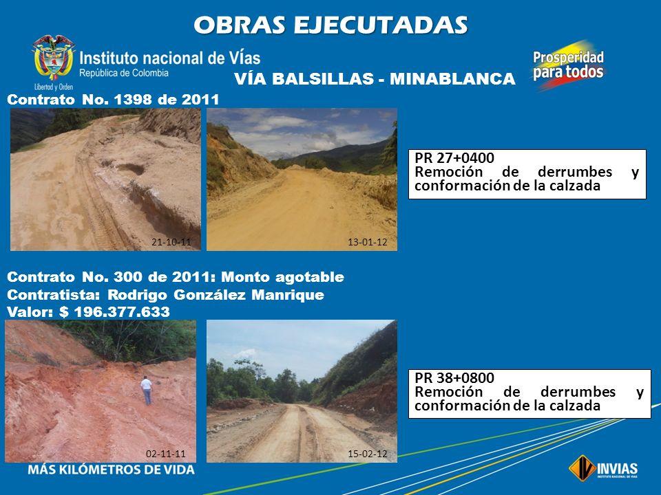 OBRAS EJECUTADAS VÍA BALSILLAS - MINABLANCA PR 27+0400
