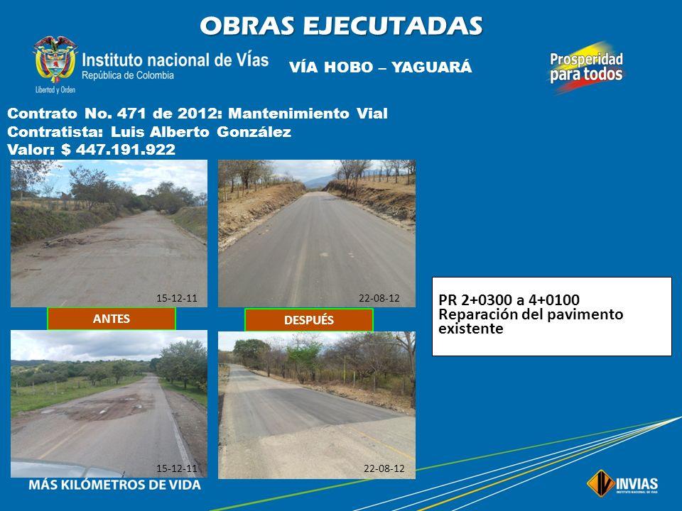 OBRAS EJECUTADAS PR 2+0300 a 4+0100 Reparación del pavimento existente