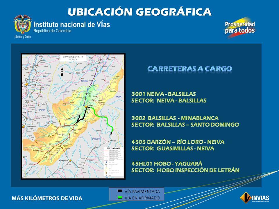 UBICACIÓN GEOGRÁFICA CARRETERAS A CARGO 3001 NEIVA - BALSILLAS