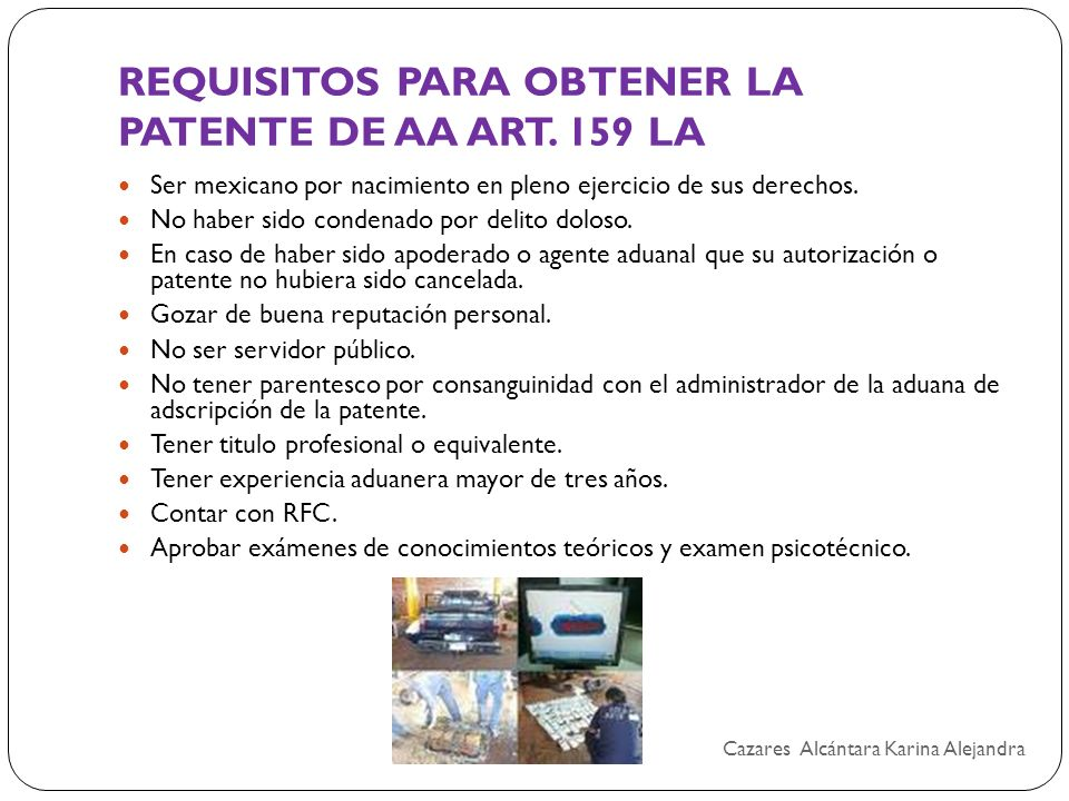 REQUISITOS PARA OBTENER LA PATENTE DE AA ART. 159 LA