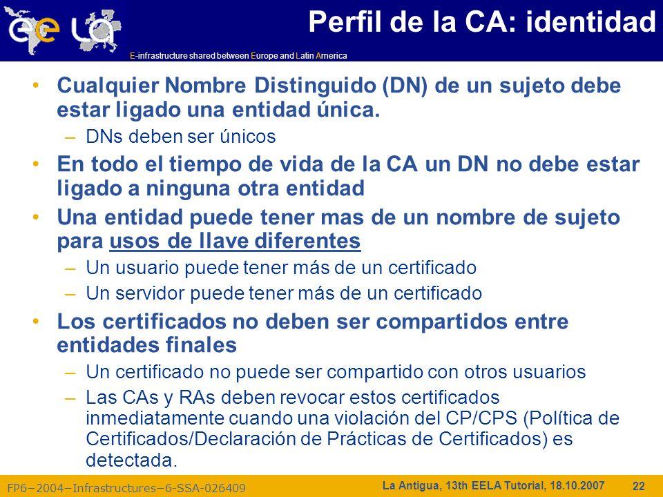 Perfil de la CA: identidad
