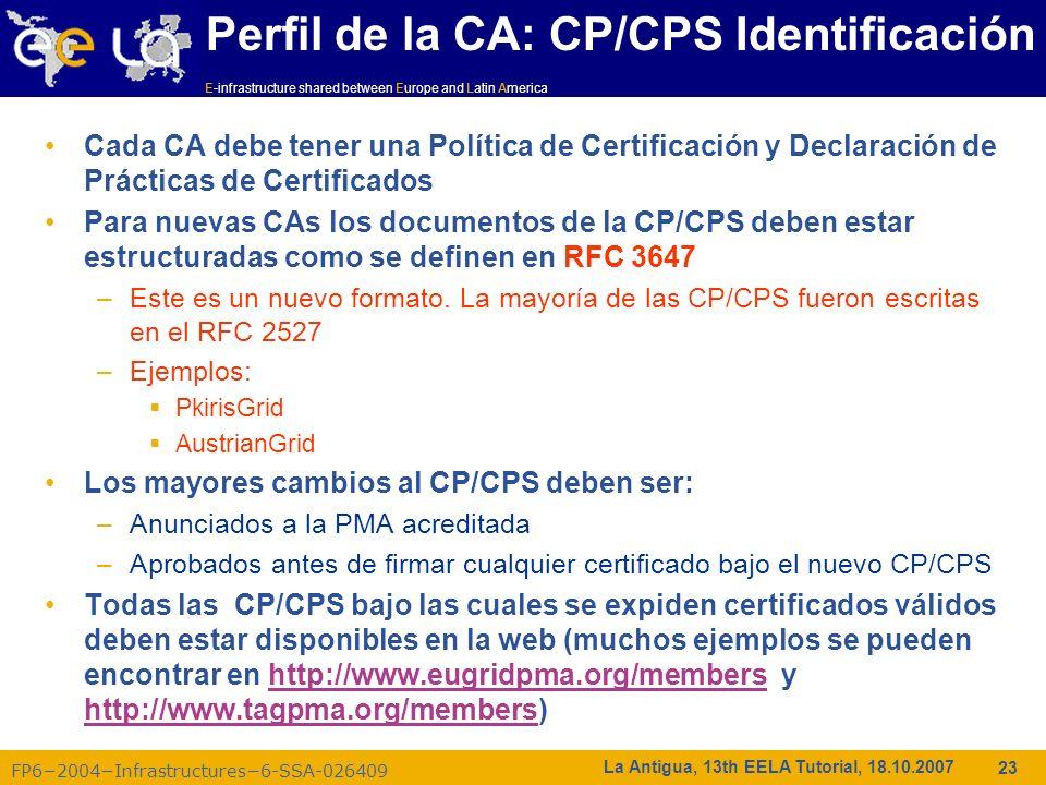 Perfil de la CA: CP/CPS Identificación