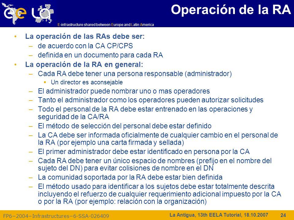 Operación de la RA La operación de las RAs debe ser: