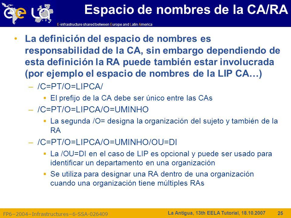 Espacio de nombres de la CA/RA