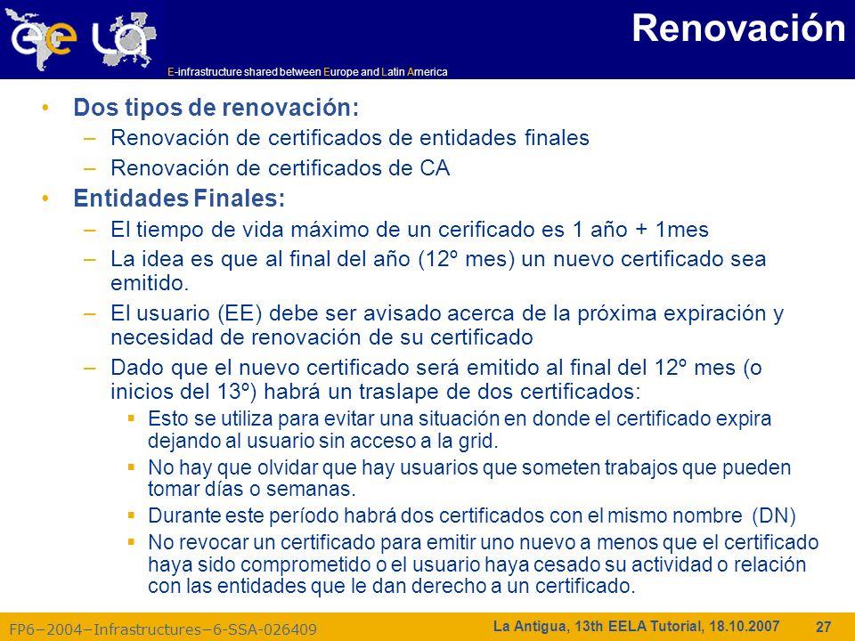 Renovación Dos tipos de renovación: Entidades Finales: