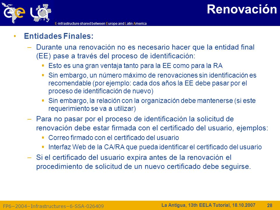 Renovación Entidades Finales: