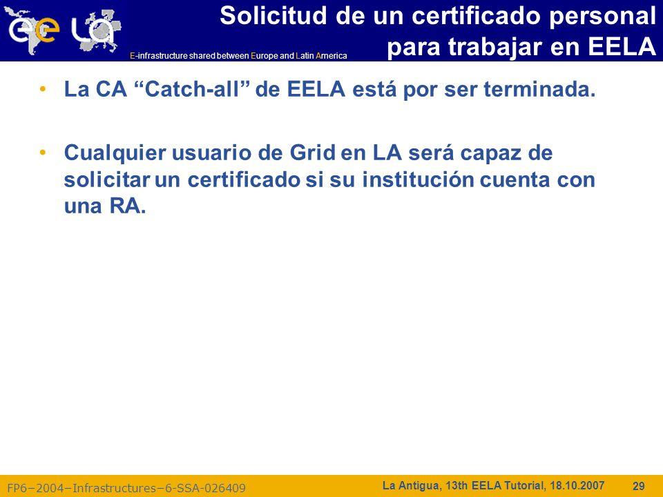 Solicitud de un certificado personal para trabajar en EELA