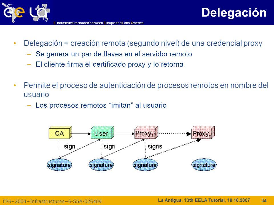 Delegación Delegación = creación remota (segundo nivel) de una credencial proxy. Se genera un par de llaves en el servidor remoto.