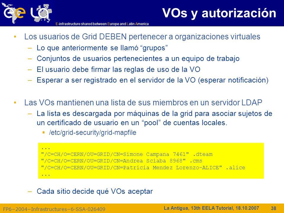 VOs y autorización Los usuarios de Grid DEBEN pertenecer a organizaciones virtuales. Lo que anteriormente se llamó grupos