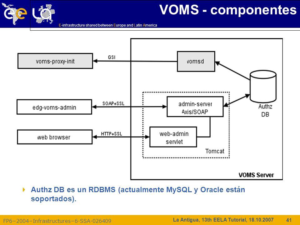 VOMS - componentes Authz DB es un RDBMS (actualmente MySQL y Oracle están soportados).