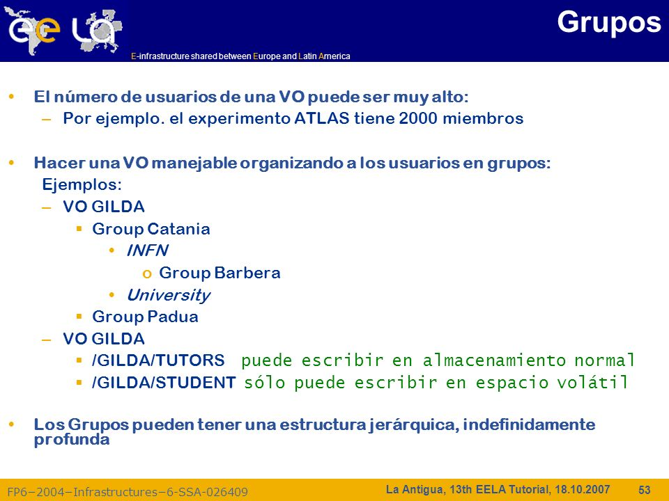 Grupos El número de usuarios de una VO puede ser muy alto: