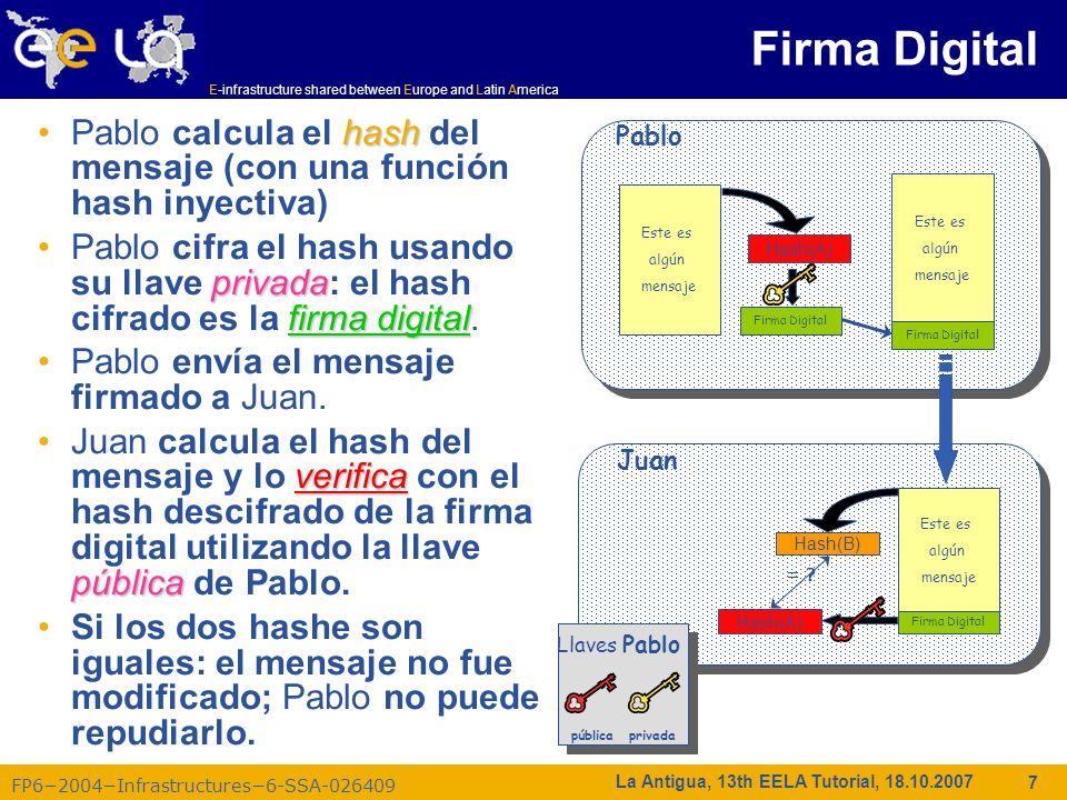 Firma Digital Pablo calcula el hash del mensaje (con una función hash inyectiva)