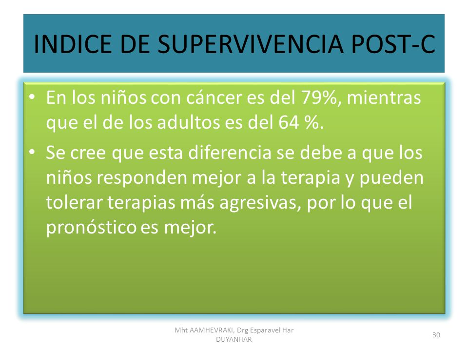 INDICE DE SUPERVIVENCIA POST-C