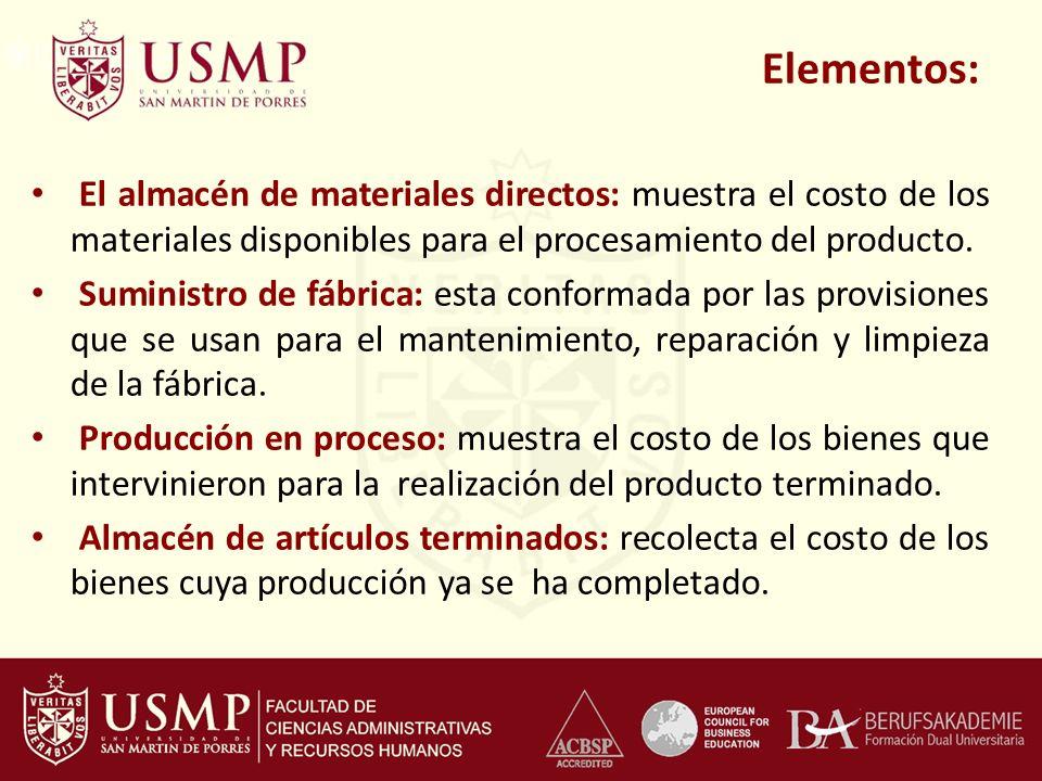 Elementos: El almacén de materiales directos: muestra el costo de los materiales disponibles para el procesamiento del producto.