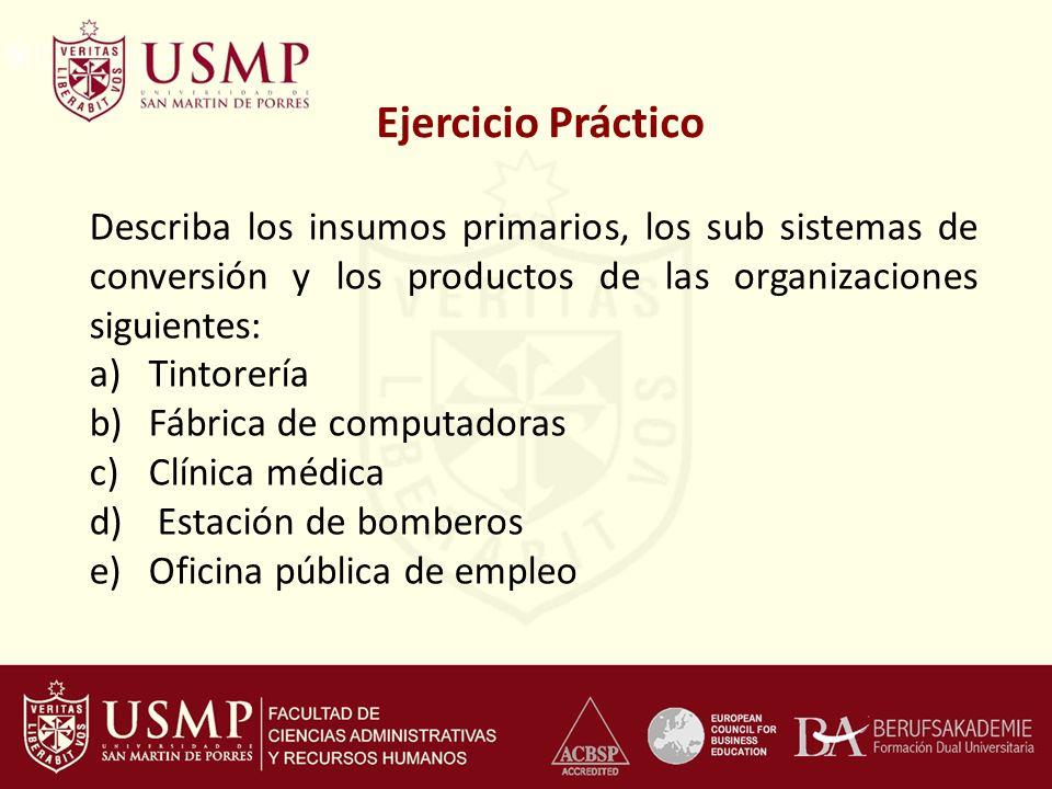 Ejercicio Práctico Describa los insumos primarios, los sub sistemas de conversión y los productos de las organizaciones siguientes: