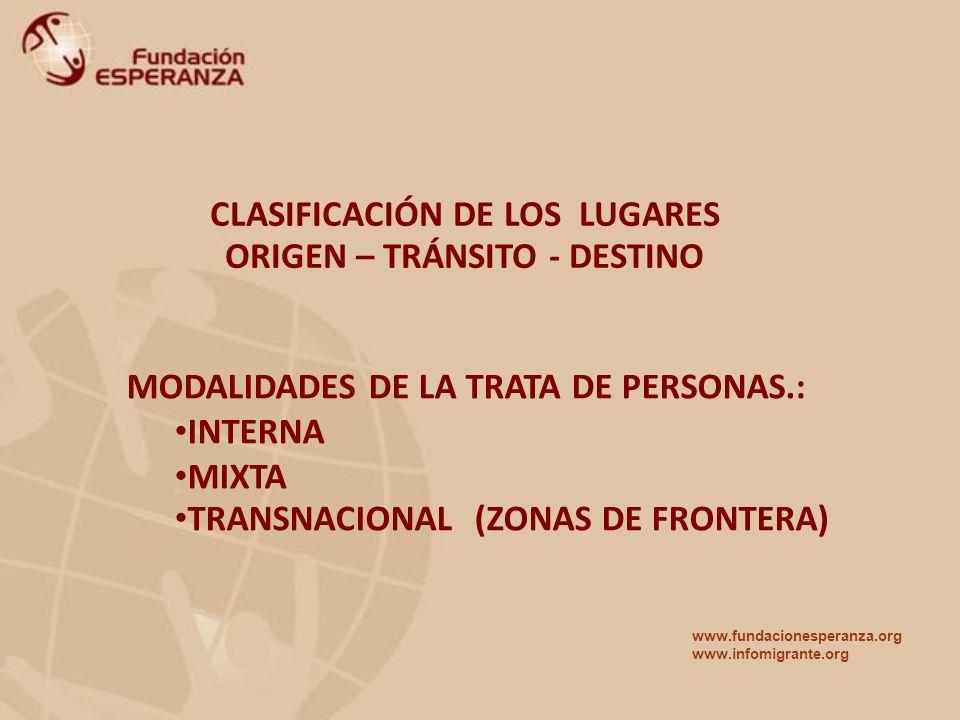 CLASIFICACIÓN DE LOS LUGARES ORIGEN – TRÁNSITO - DESTINO