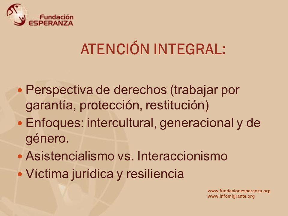 ATENCIÓN INTEGRAL: Perspectiva de derechos (trabajar por garantía, protección, restitución) Enfoques: intercultural, generacional y de género.
