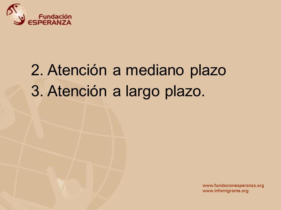 2. Atención a mediano plazo 3. Atención a largo plazo.