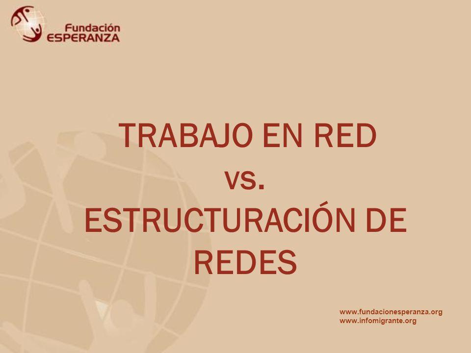 TRABAJO EN RED vs. ESTRUCTURACIÓN DE REDES