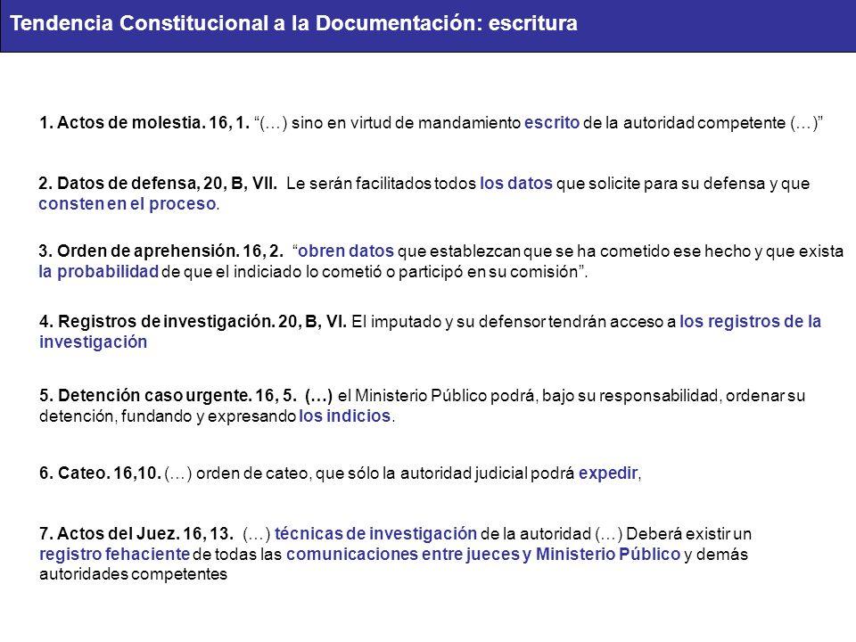 Tendencia Constitucional a la Documentación: escritura