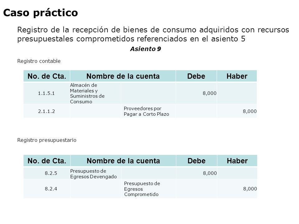 Caso práctico Registro de la recepción de bienes de consumo adquiridos con recursos presupuestales comprometidos referenciados en el asiento 5.